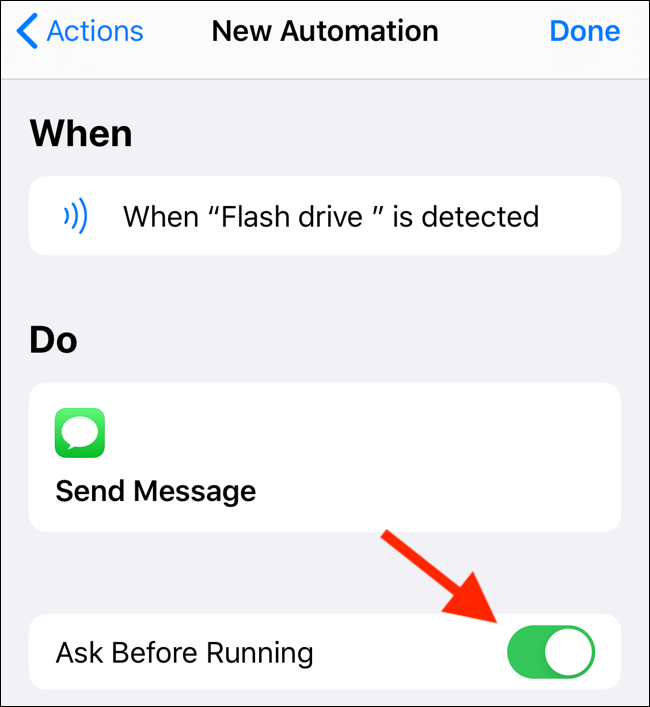"""Tap the """"Ask Before Running"""" toggle to enable it."""