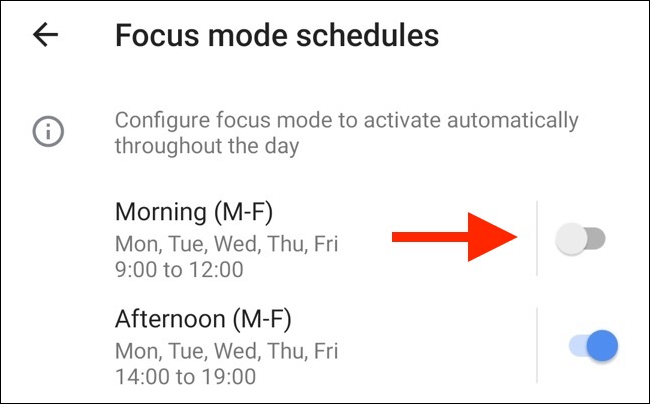 Tap any toggle to enable a preset schedule for Focus mode.