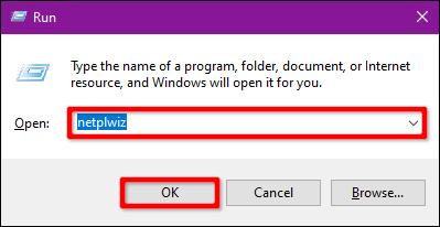 Type netplwiz in Run Command