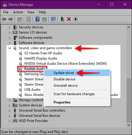 Windows 10 Update Audio Driver