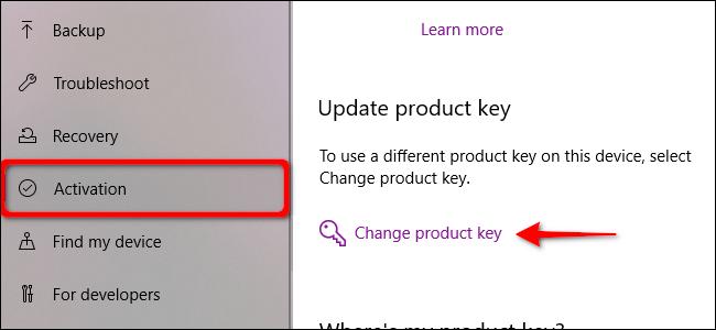 Windows 10 Activation Change Key