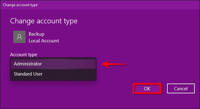 Windows 10 Change Account Type Part 2