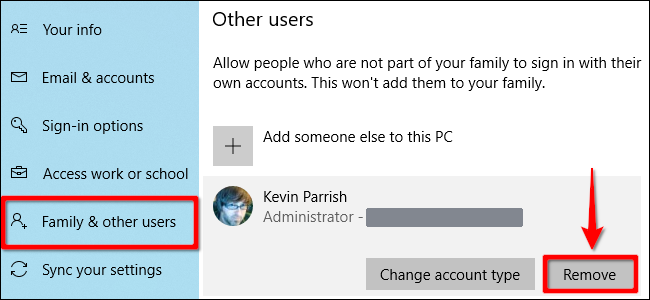 Windows 10 Delete Account