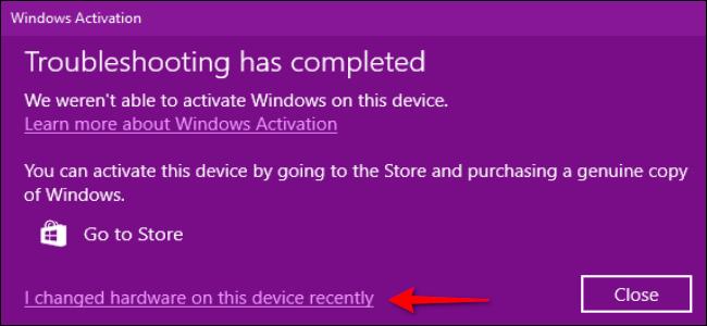 Windows 10 I changed hardware link