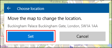 When creating a Windows 10 Maps Collections location, manually position your location, then click Set
