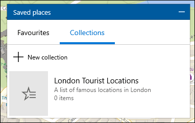 A list of collections in the Windows 10 Maps app