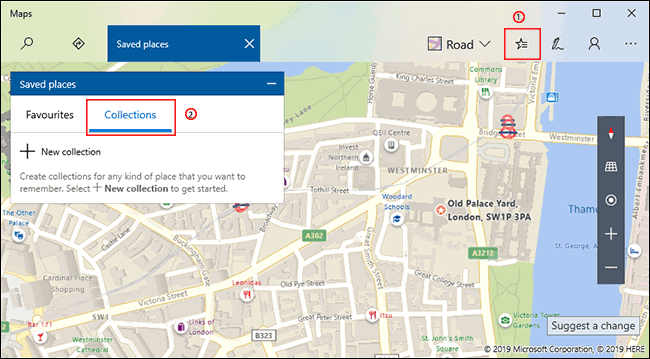 Click the Saved Places button in Windows 10 Maps, then click the Collections tab