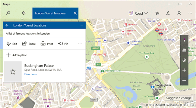 A Windows 10 Maps Collection with saved listings