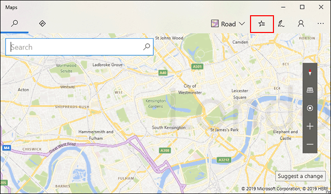 In Windows 10 Maps, click the Saved Places icon in the top-right