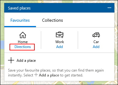 Under Home in the Saved Places tab, click Directions