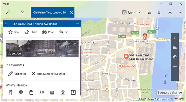 An example of a favorite location listing in Windows 10 Maps