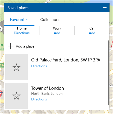 A list of saved locations in Windows 10 Maps