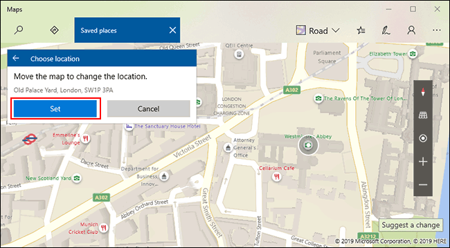 Manually select your favorite location, then click Set