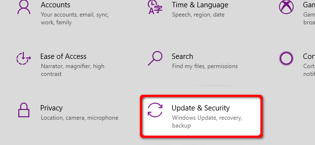 Windows 10 Select Update and Security