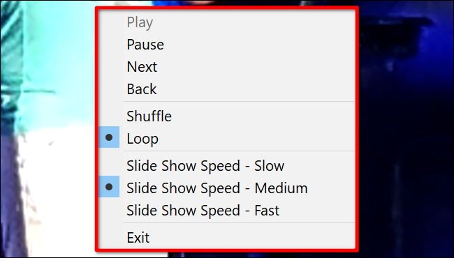 Windows 10 Slideshow Controls