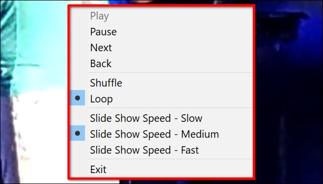 Windows 10 Slideshow Controls