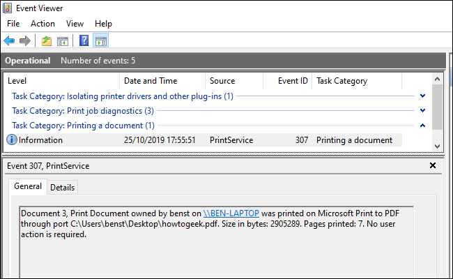 A list of printed documents in the Event Viewer, separated by categories