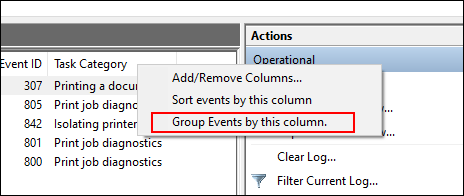 In the Event Viewer logs list, right-click Task Category, then click Group Events by This Category