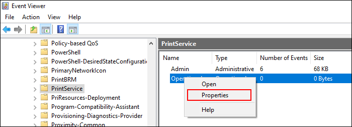 In PrintServices category, right-click the Operational setting, then click Properties