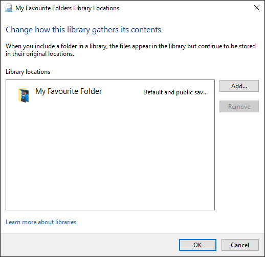 "The ""Manage Library Locations"" menu in Windows File Explorer."