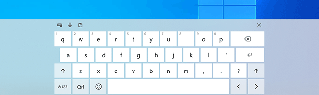 The Windows on-screen keyboard, activated for use