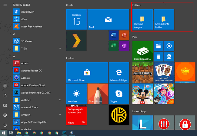 A pinned tile group in the Windows 10 Start menu.