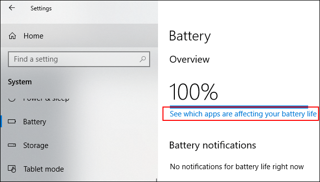 """Click """"See Which Apps Are Affecting Your Battery Life."""""""