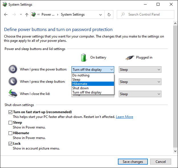 The Windows 10 Advanced Power Settings menu.