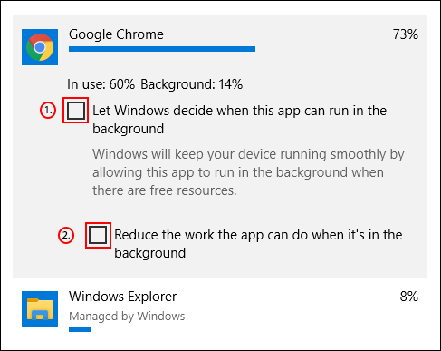"Uncheck the ""Let Windows Decide When This App Can Run In The Background"" and ""Reduce The Work The App Can Do When It's In The Background"" boxes."