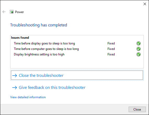 The Windows 10 Troubleshooting tool, showing completed changes to the power settings.