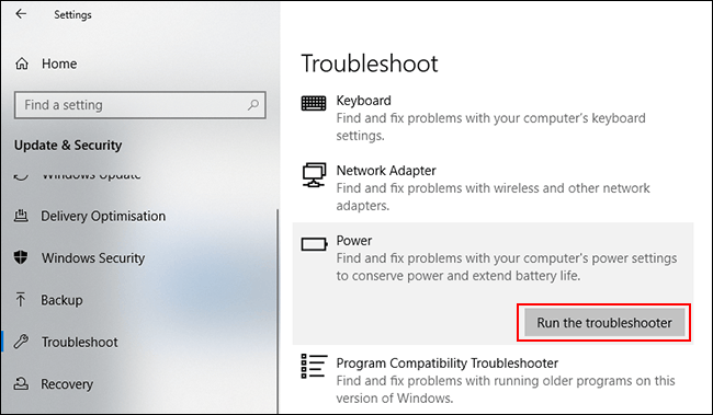 """Click """"Run the Troubleshooter."""""""