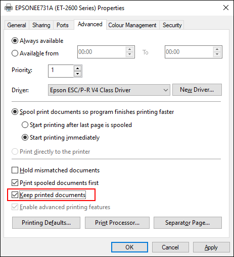 Click the advanced tab in your printer settings and enable the keep printed documents checkbox