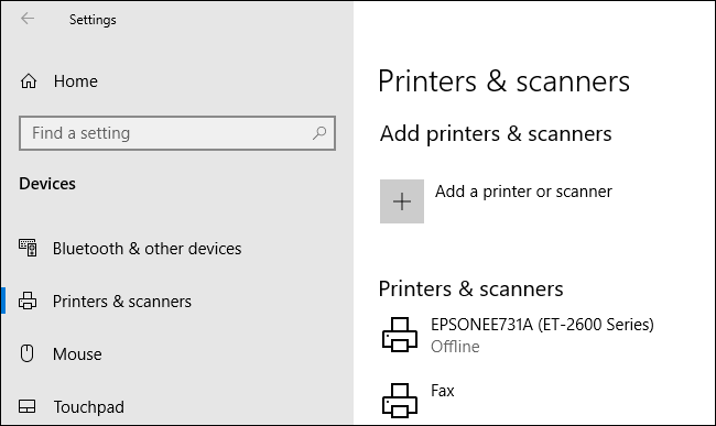 Access your Windows printer settings by right-clicking your Start Menu button, clicking Settings, then Devices > Printers & Scanners