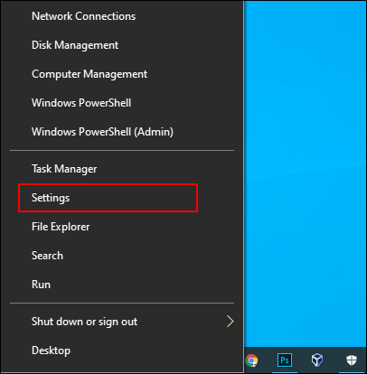 Right-click the Start Menu button, then click Settings