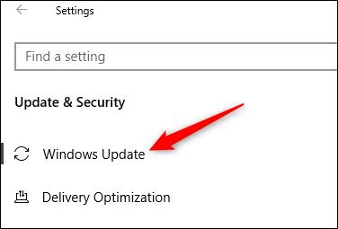 """Click """"Windows Update."""""""