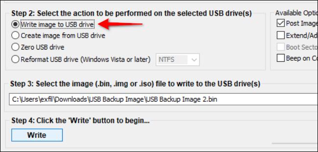 Write Image to USB Drive