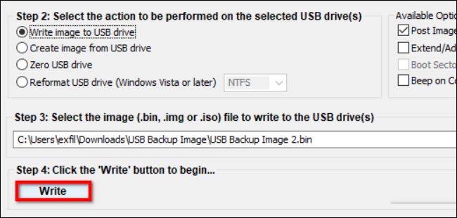 Write Saved Image to USB Drive