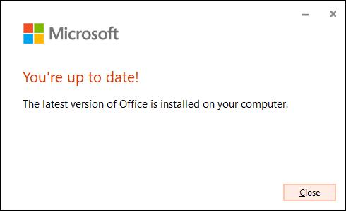 "The ""You're Up to Date"" message confirming Microsoft Office successfully updated its software."
