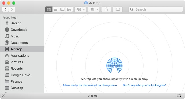 "The ""AirDrop"" pane in Finder."