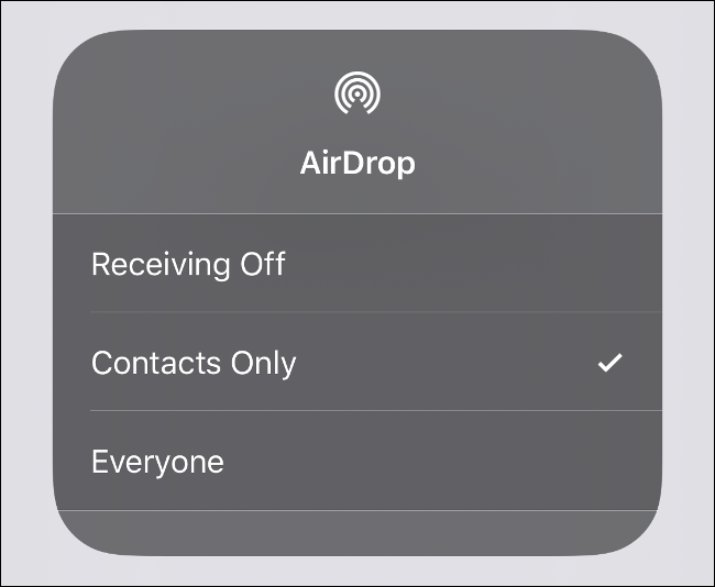 The AirDrop visibility menu in iOS.