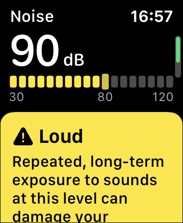 A Noise Monitoring alert on watchOS 6.