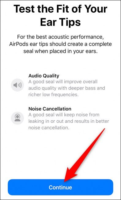 Apple AirPods Pro Select Continue