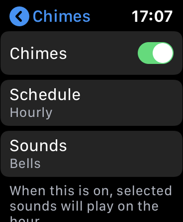 "The ""Chimes"" menu on Apple Watch."