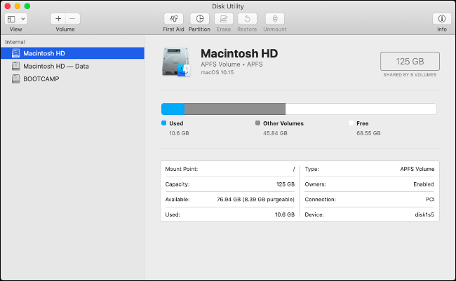 macOS Catalina Read-Only Volume Visible in Disk Utility