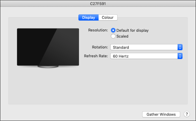 "The ""Display"" tab on macOS."