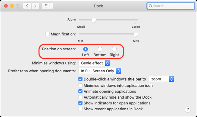 macOS Dock Alignment and Preferences