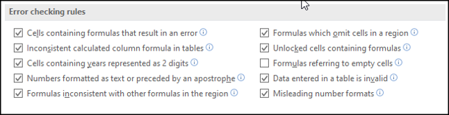 Turn off specific error checking rules