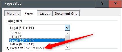 Click the paper size you want to make the default.