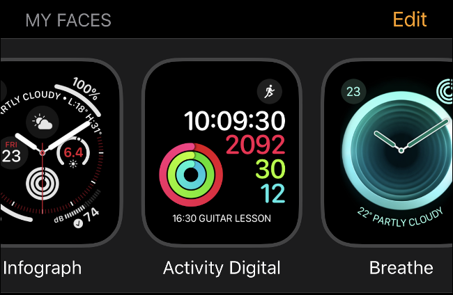 "The ""My Faces"" Apple Watch clock faces screen in watchOS 6."