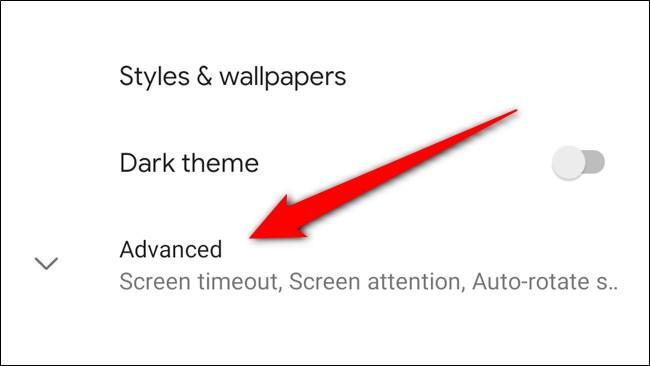 Google Pixel 4 Haga clic en Avanzado